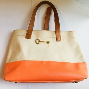 Fossil Austin shopper canvas leather handbag tote